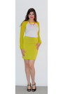 Chartreuse-bodycon-rock-republic-skirt-white-mesh-sleeves-top
