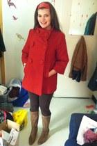 camel boots - red coat - dark brown leggings - red accessories
