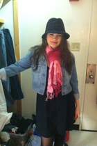 light blue denim jacket - black dress - black hat - pink scarf - black stockings
