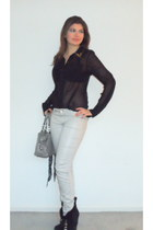 black studs on collar Soie Shop blouse - black boots - silver jeans