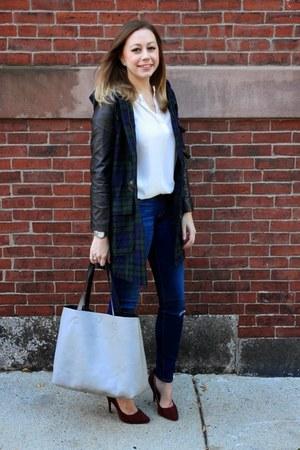 black plaid fecbek coat - blue skinny jeans 7 for all mankind jeans