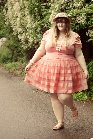 cream River Island hat - peach H&M skirt - nude asos flats - light pink Monsoon