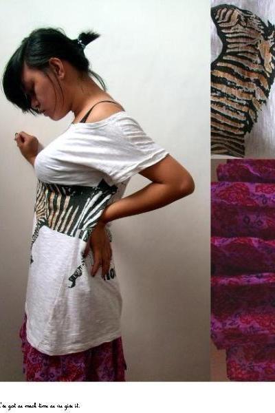 gold striped zebra print shirt - and red Bangkok skirt - electric blue nail poli