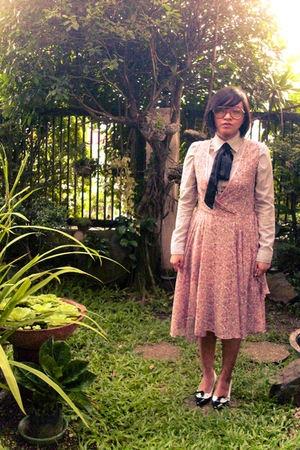 thrifted glasses - Soulier shoes - Mango dress - striped shirt - ribbon tie acce