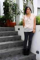 beige vintage blouse - black favorite jeans - black Love boots - beige Love acce
