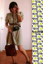 vintage dress - vintage belt - braided leather flats shoes - leather bag accesso