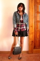 Chevignon plaid shirt - DIY cropped jean jacket - South Wind blouse - Love skirt