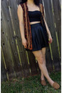 Tawny-sleeveless-thrifted-cardigan-black-faux-leather-forever-21-skirt