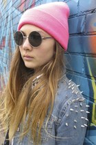 knit neon pink American Apparel hat - studded denim Top Shop jacket