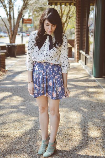 polka dot top Forever 21 blouse - Seychelles shoes