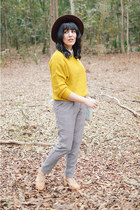 mustard sweater Ruche sweater - plaid trousers Forever 21 pants