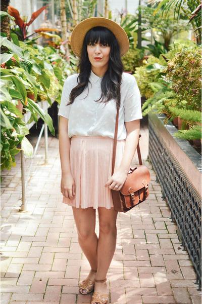 floppy hat Forever 21 hat - brown satchel H&M purse - Forever 21 skirt