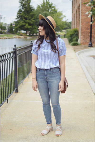 chicnova top - high rise jeans madewell jeans - hat Forever 21 hat