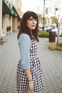 Gingham-dress-ruche-dress-denim-shirt-old-navy-shirt