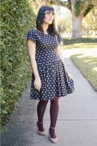 pink shoes Topshop shoes - polka dot dress thrifted vintage dress