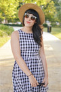 Gingham-dress-ruche-dress-hat-forever-21-hat