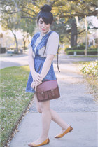 ribbon blouse vintage blouse - denim pinafore Forever 21 dress