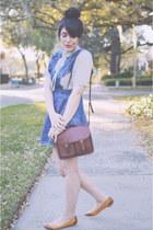 ribbon blouse vintage blouse - denim pinafore Forever 21 dress