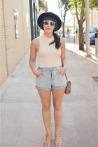 pink top Forever 21 top - satchel thrifted purse - Urban Outfitters shorts