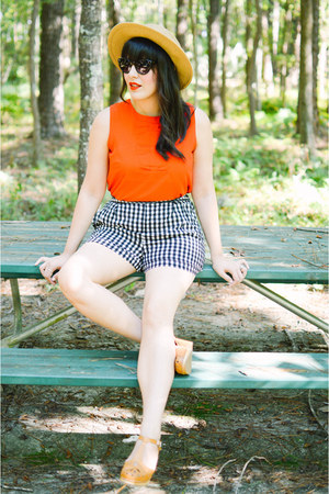 red bow top PepaLoves top - gingham shorts mod shorts