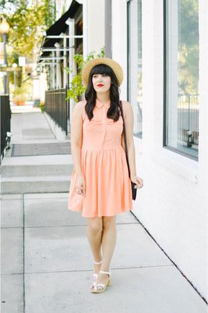 straw hat Forever 21 hat - PepaLoves dress - clogs heels swedish hasbeen heels