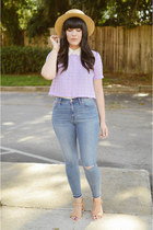camel straw hat Forever 21 hat - blue high rise jeans madewell jeans