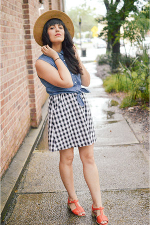denim crop top Forever 21 top - gingham dress Ruche dress