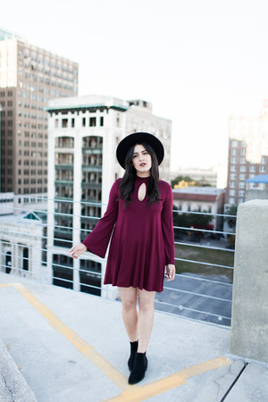 matador hat asos hat - Urban Outfitters boots - burgundy dress Momni dress