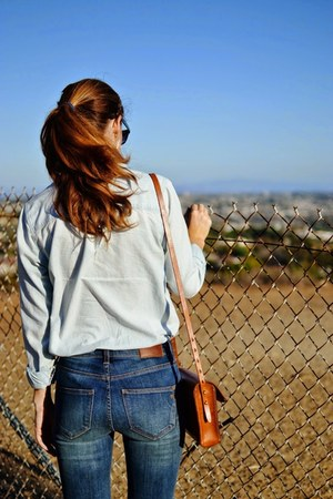 madewell jeans - blue chambray J Crew shirt - leather madewell bag