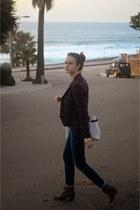 light brown Dolce Vita boots - Tommy Hilfiger jeans - white plaid Zara blazer