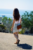 off white v-neck madewell shirt - leather madewell bag - striped madewell skirt