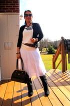 black boots - black coat - black Prada purse - white skirt - black cardigan