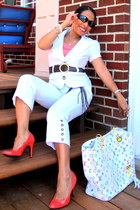 white LV purse - sunglasses - blouse - salmon heels - pants