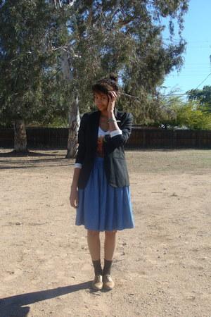 brown Aldo shoes - black Target blazer - sky blue skirt - orange top