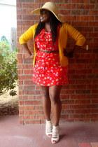 red floral print Target dress - beige straw Target hat - mustard Target cardigan