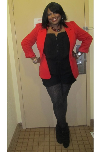 dark gray leopard Target tights - black suede booties rachel roy boots