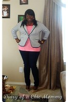 navy skinny jeans Torrid Source of Wisdom jeans - knit Sears Covington blazer -