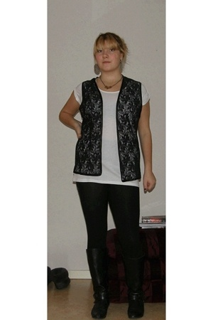 BikBok t-shirt - vintage vest - H&M stockings - Wedins shoes - H&M accessories