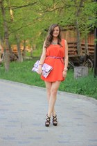 carrot orange Mango dress - Debenhams bag - Moschino belt