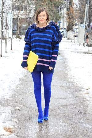 navy Sonia Rykiel sweater - Zara shoes - navy Sonia Rykiel tights