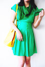 Chartreuse-green-cute-granny-vintage-dress-green-green-thrifted-scarf