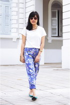 violet vintage floral pants - white thrifted Voir top