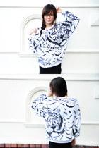 black mini cotton on dress - white white tiger Cute Granny Vintage sweater