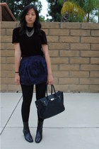 navy skirt - black Bally boots - black velvet thrifted top