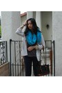 Turquoise-blue-target-scarf-navy-chain-thrifted-bag-navy-chino-h-m-pants