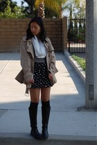 Kenneth Cole boots - tan trench Target coat - striped pinky and dianne sweater