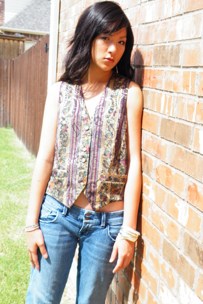 random vest - from japan blouse - abercrombie and fitch jeans
