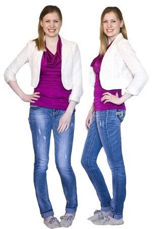 magenta silk Express top - blue denim Miss Me jeans