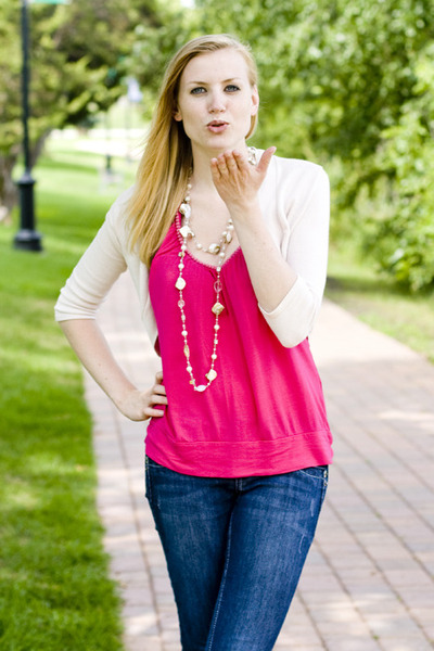 Ivory Cardigans Blue Jeans Hot Pink Tops | u0026quot;Summer to ...