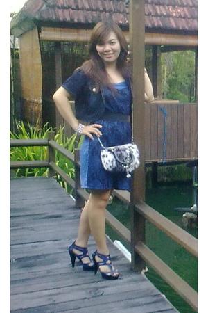 blue ribbon dress - blue belle shoes - blue No label purse - blue jj jacket